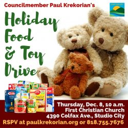 This Thursday: Don't Miss Councilmember Krekorian's Holiday Food and Toy Drive