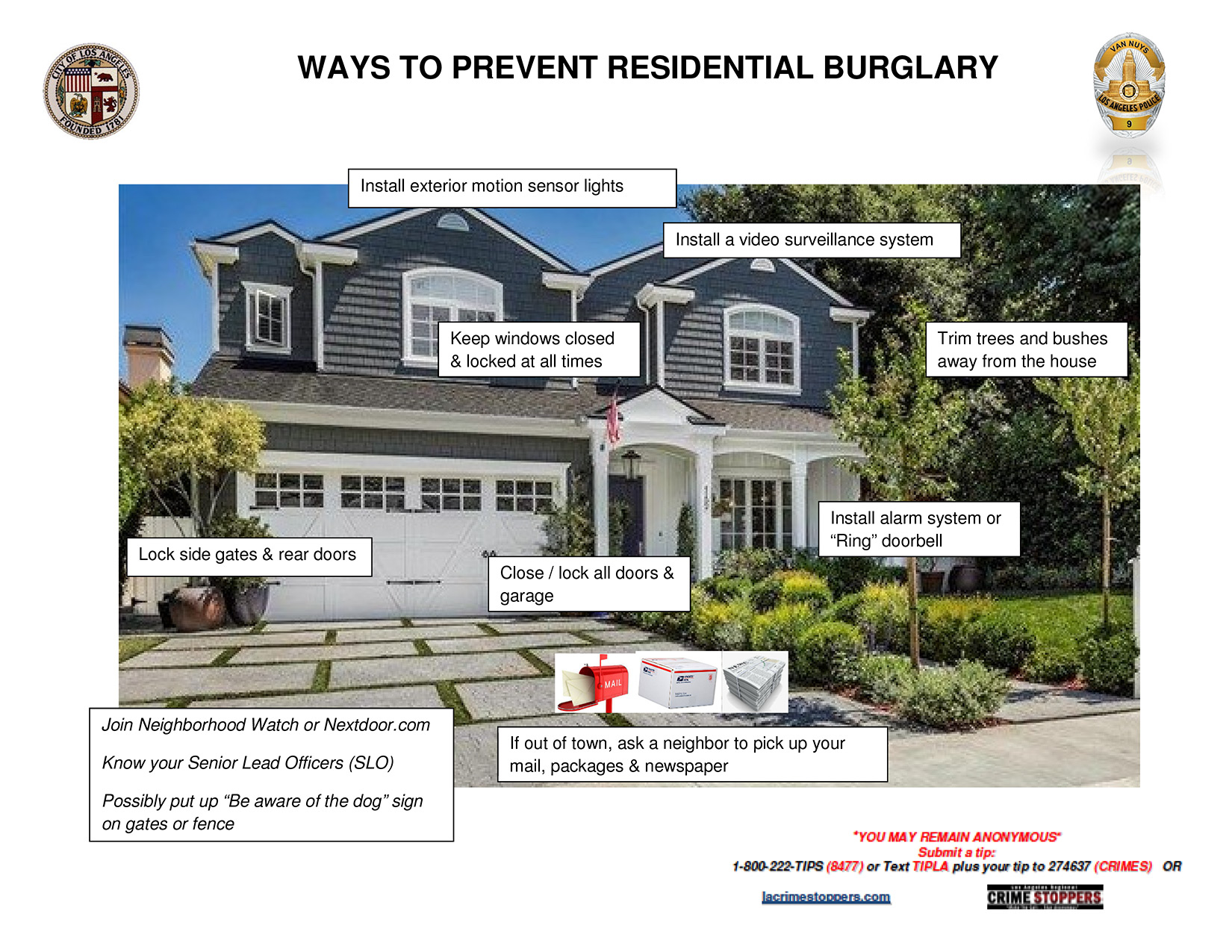 Ways to prevent residential burglary