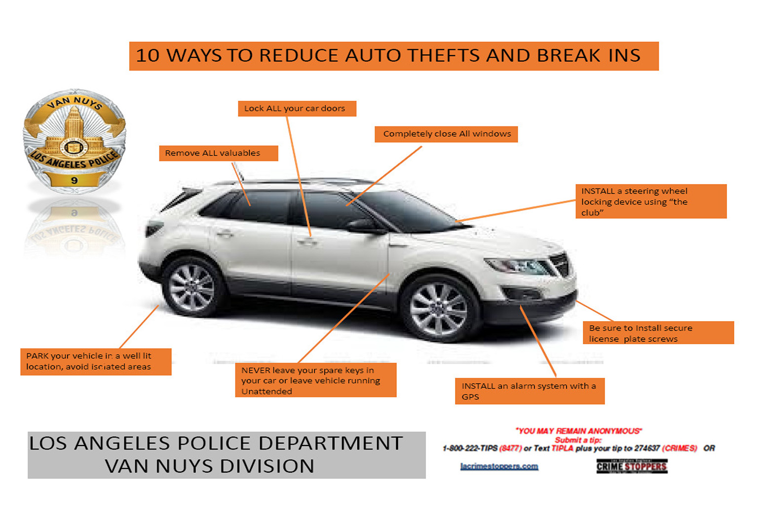 10 ways to reduce auto thefts