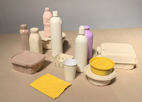 Disposable bottles and containers on a table
